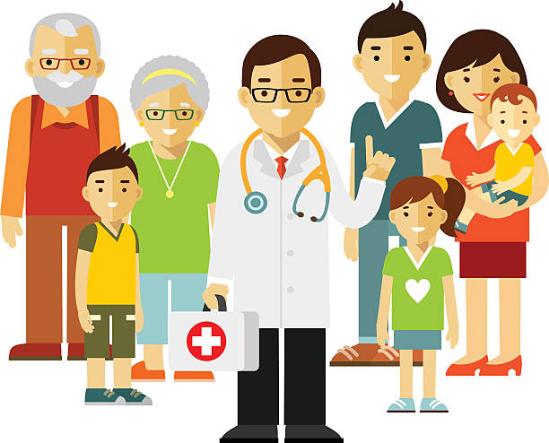 Family doctor concept with young practitioner and happy patients - Illustration vectorielle