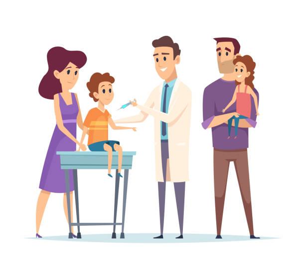 illustrations, cliparts, dessins animés et icônes de médecin de famille. pédiatre, illustration de vecteur de vaccination. personnages heureux de famille et de docteur. vaccination des enfants, aide médicale - vaccin enfant