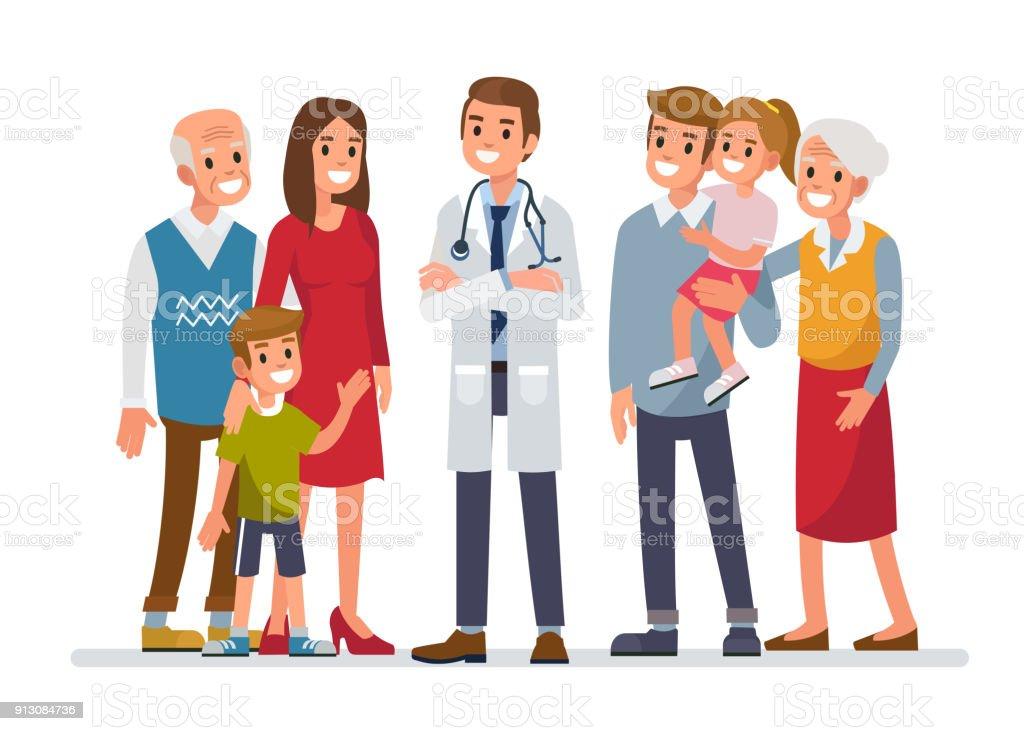 Family doctor vector art illustration