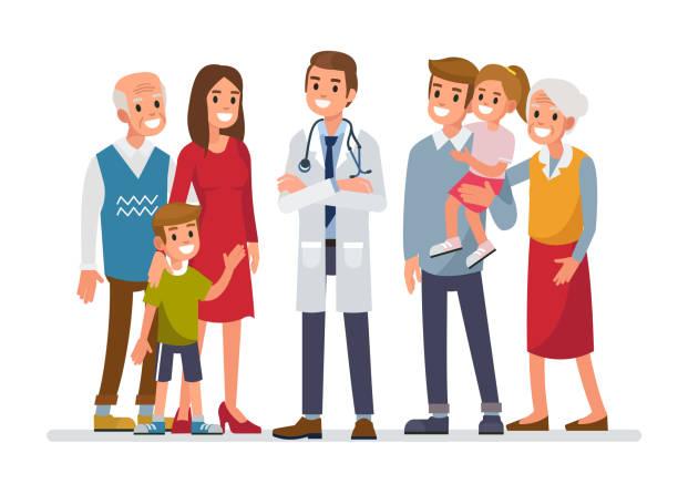 ilustrações, clipart, desenhos animados e ícones de família médico - pediatra