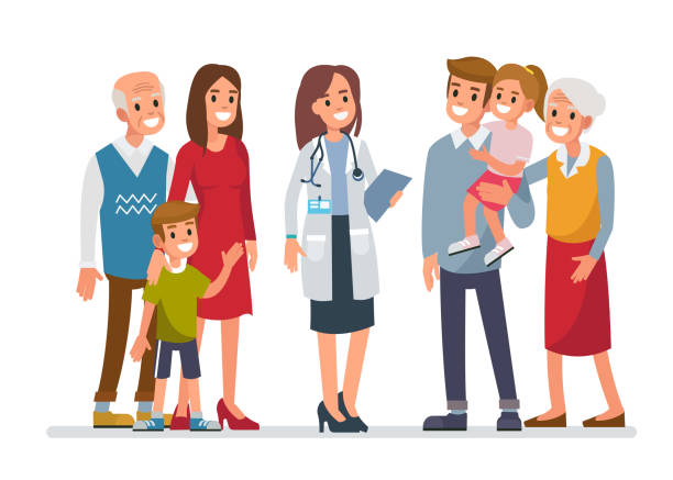 Family doctor Doctor woman with big family. Flat style vector illustration isolated on white background. doctor and patient stock illustrations