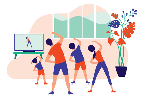Family Doing Online Exercise Together At Home. Healthy Lifestyle Indoor Fitness. Vector Illustration Flat Cartoon.