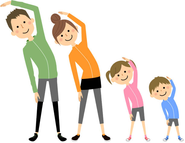 Family doing stretching - illustrazione arte vettoriale