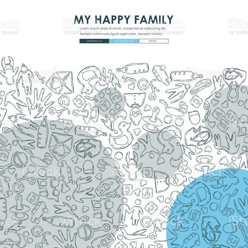 Aile Web sitesi şablonu tasarımı Doodle royalty-free aile web sitesi şablonu tasarımı doodle stok vektör sanatı & aile'nin daha fazla görseli