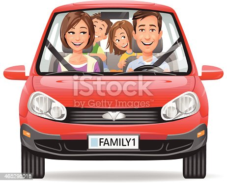istock Family Driving In A Red Car 465298018