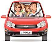 Vector illustration of a happy family with two kids driving in a red car, isolated on white. EPS 10.