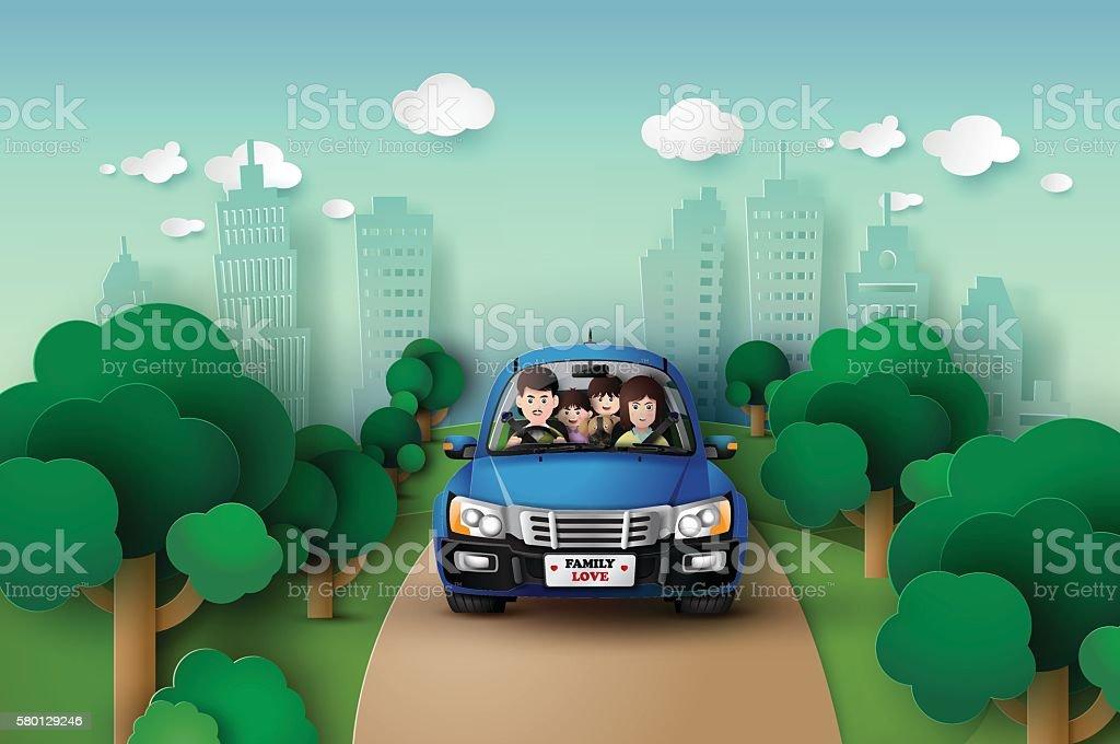 Family driving in car . vector art illustration