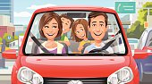 Vector illustration of a happy family with two kids driving in a red car in a city. EPS 10.