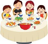 Family eating dinner. Family dinner isolated.