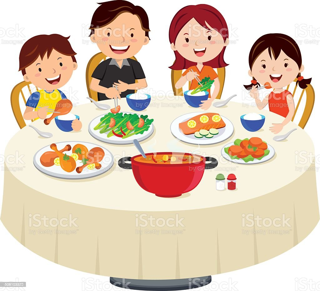 Family eating dinner. Family dinner isolated. vector art illustration