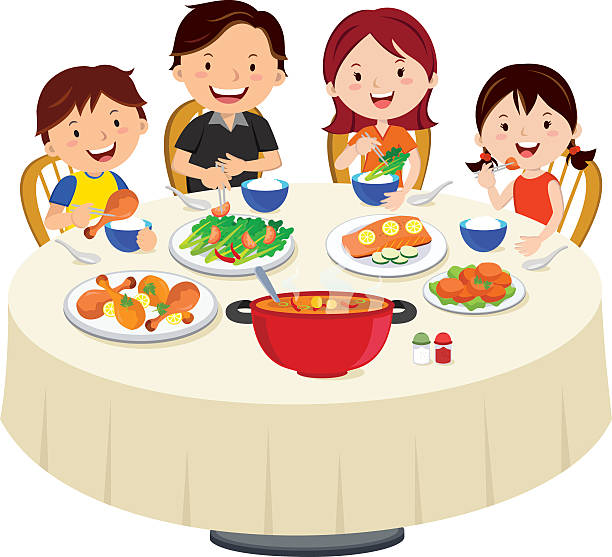 Family Eating Dinner Isolated Vector Art Illustration
