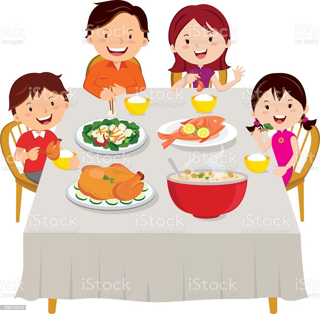 royalty free family dinner table clip art vector images rh istockphoto com family dinner clipart clipart black family dinner