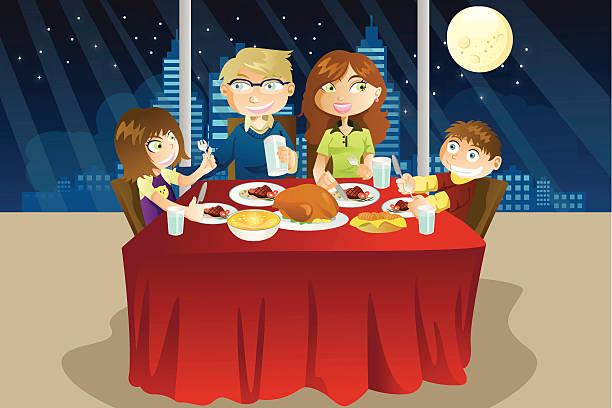 ご家族でのお食事 - 家族での夕食点のイラスト素材/クリップアート素材/マンガ素材/アイコン素材