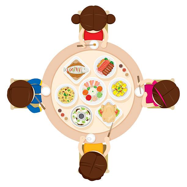 ご家族でのお食事を - 家族での夕食点のイラスト素材/クリップアート素材/マンガ素材/アイコン素材