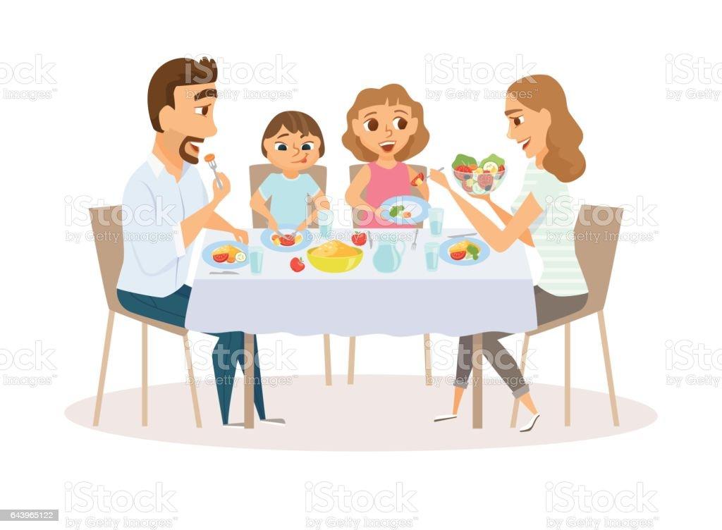 Family eating meal – Vektorgrafik
