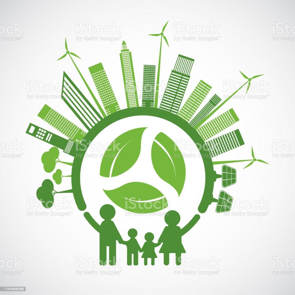 Family Ecology and Environmental Concept With Green Leaves Around...