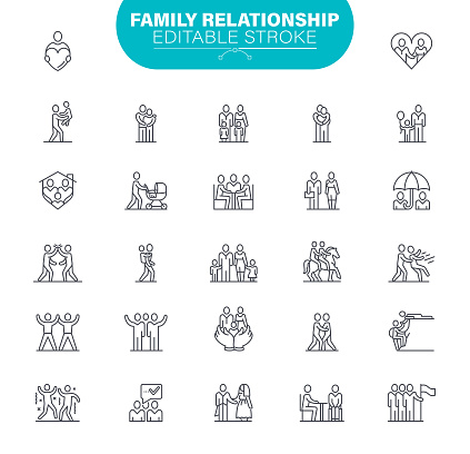 Family Editable Stroke Icons. In set icon as Relationship, Child, Community, People