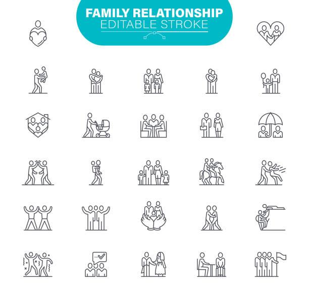 illustrazioni stock, clip art, cartoni animati e icone di tendenza di icone dei tratti modificabili della famiglia. nell'icona set come relazione, bambino, comunità, persone - family