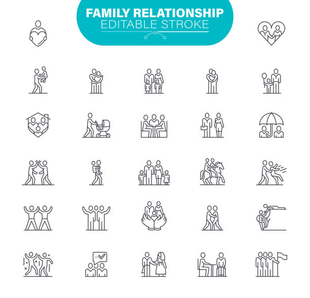 Family Editable Stroke Icons. In set icon as Relationship, Child, Community, People vector art illustration