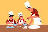 Family, education, fatherhood, childhood concept. Young man dad teaching cooking skills and meal receipts children boy girl kids. Preparing food for lunch dinner breakfast or fathers day illustration.