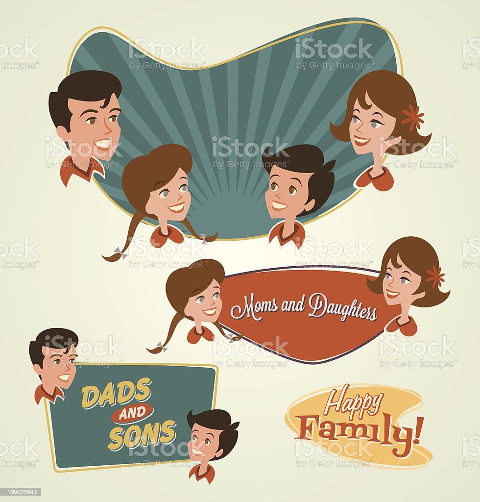 Family emblems vector art illustration
