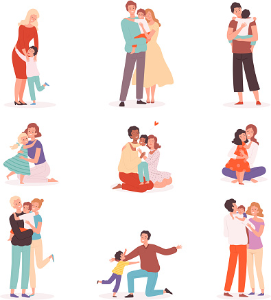 Family embrace. Happy parents hugging smiling kids comforted childhood mother kisses vector cartoon characters