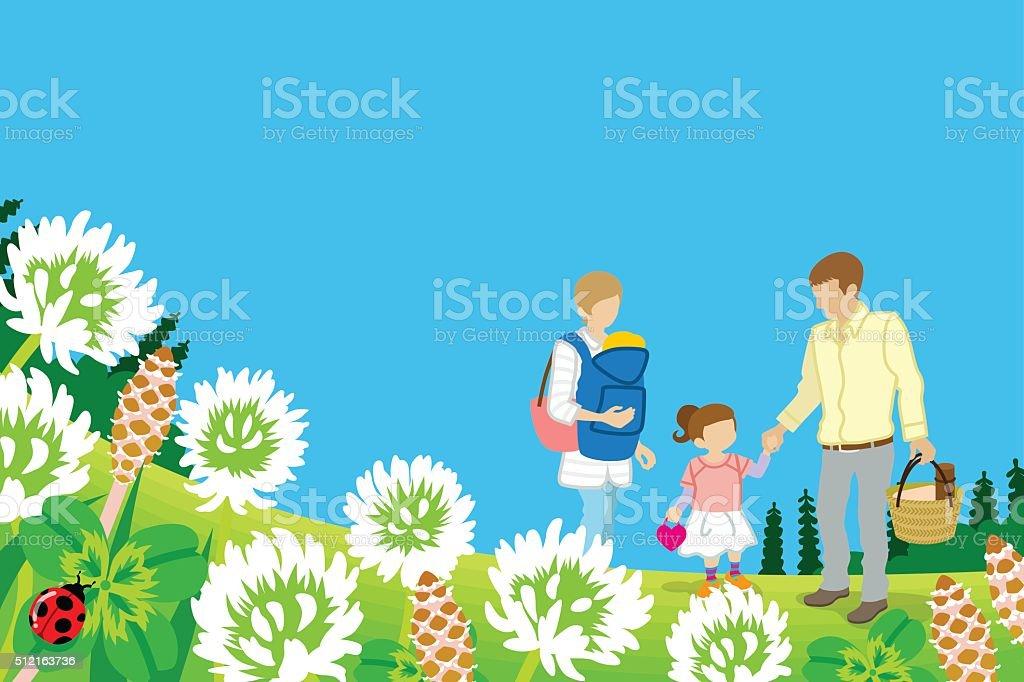 Family enjoying Picnic in Spring nature - EPS10 vector art illustration