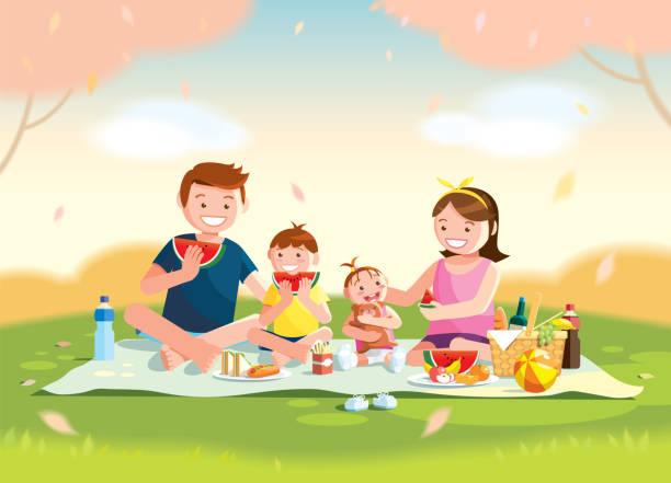 Family enjoying picnic. They are sitting and eating watermelon on the grass in a park, the basket with meal and toys for the kids. Blurred background. Family enjoying picnic. They are sitting and eating watermelon on the grass in a park, the basket with meal and toys for the kids. Blurred background. Vector, illustration. picnic stock illustrations