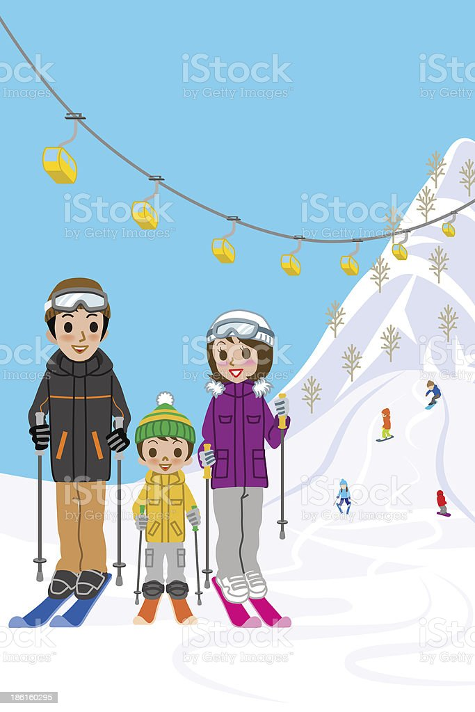 Family enjoying ski resort royalty-free family enjoying ski resort stock vector art & more images of boys