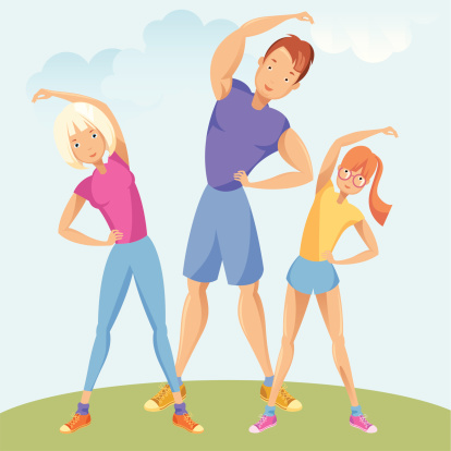 Family exercising.