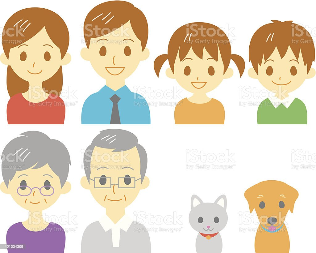 Family face vector art illustration