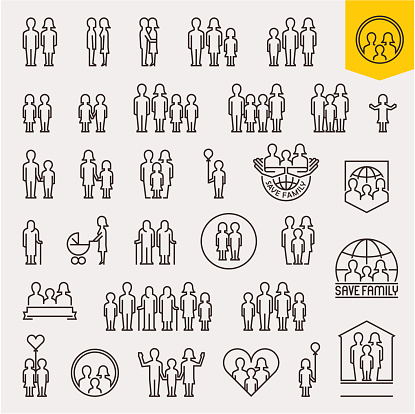 Family. Family icons set. Thin line people and family vector icons clipart