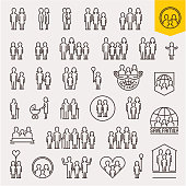 Family. Family icons set. Thin line people and family vector icons