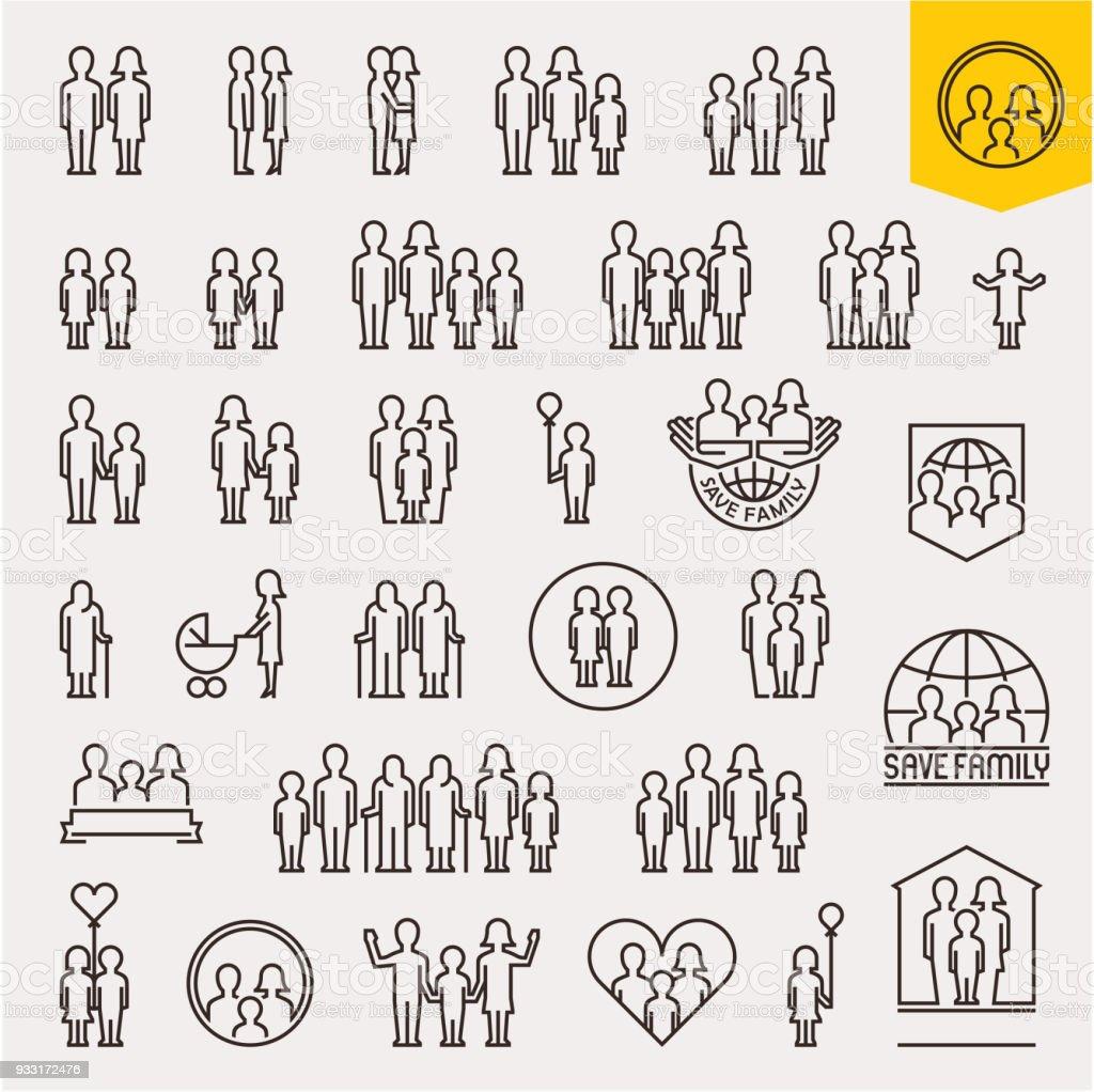 家族。家族のアイコンを設定します。細い線の人々 と家族のベクトルのアイコン ベクターアートイラスト