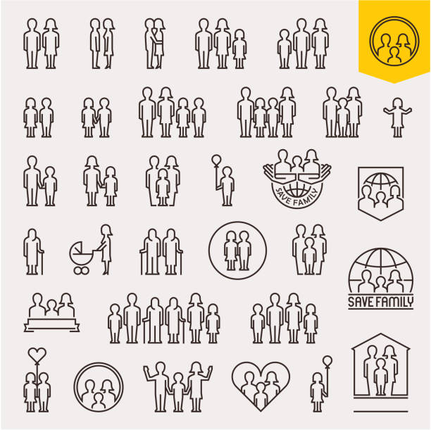 family. family icons set. thin line people and family vector icons - family stock illustrations