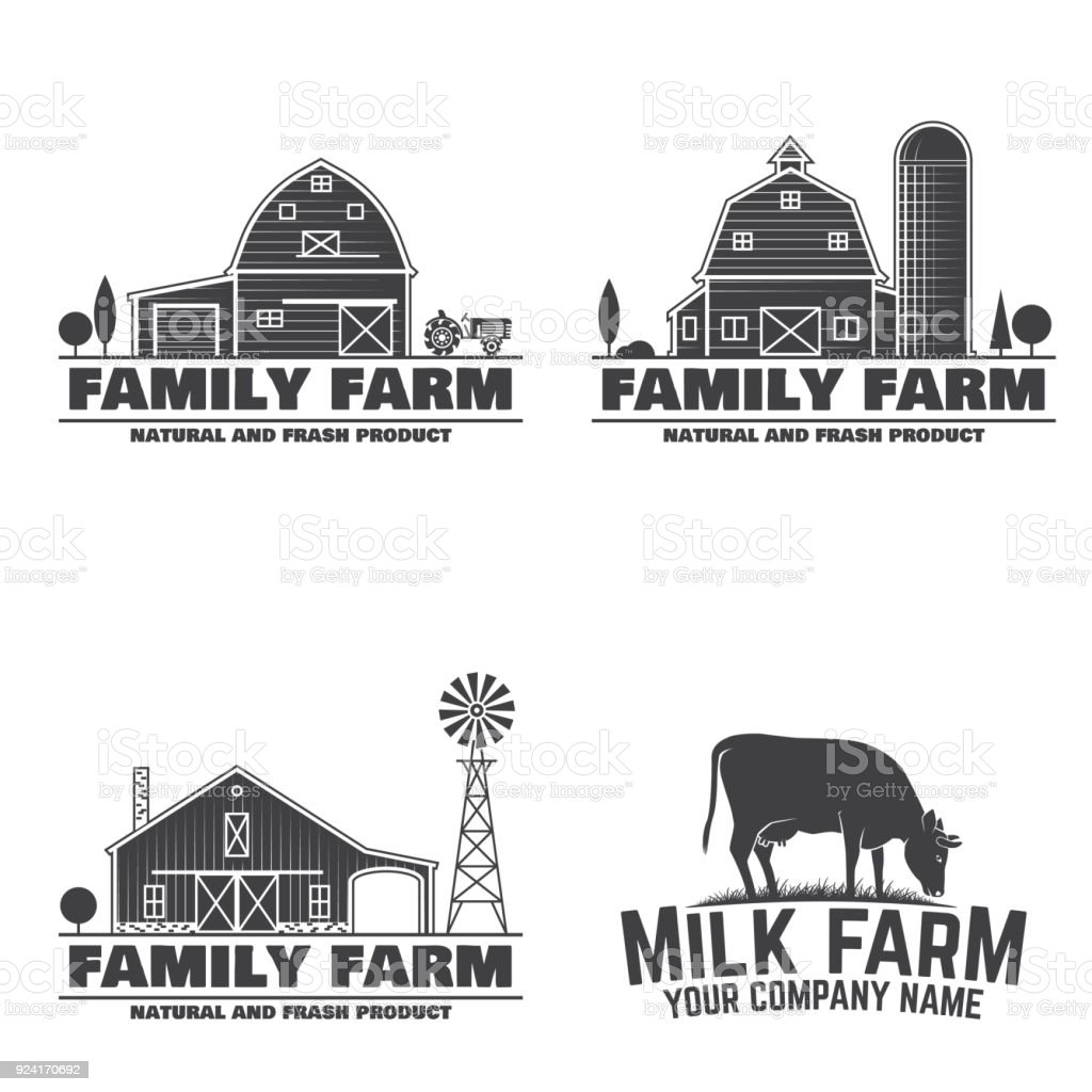 Family Farm Badges or Labels vector art illustration