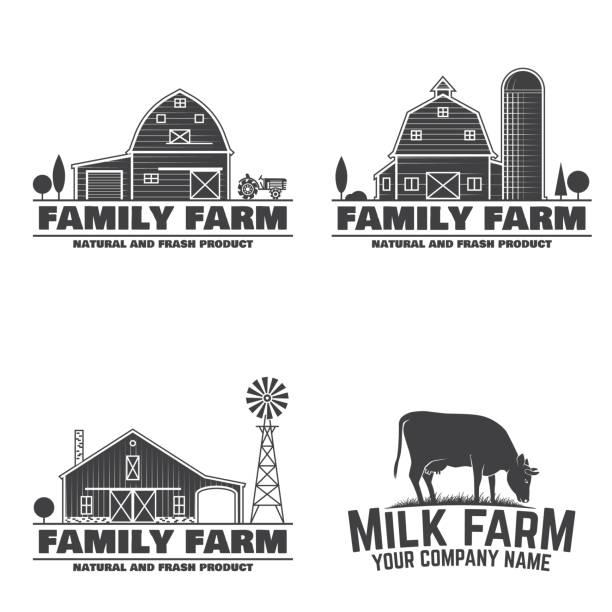 가족 농장 배지 또는 레이블 - 농장 stock illustrations