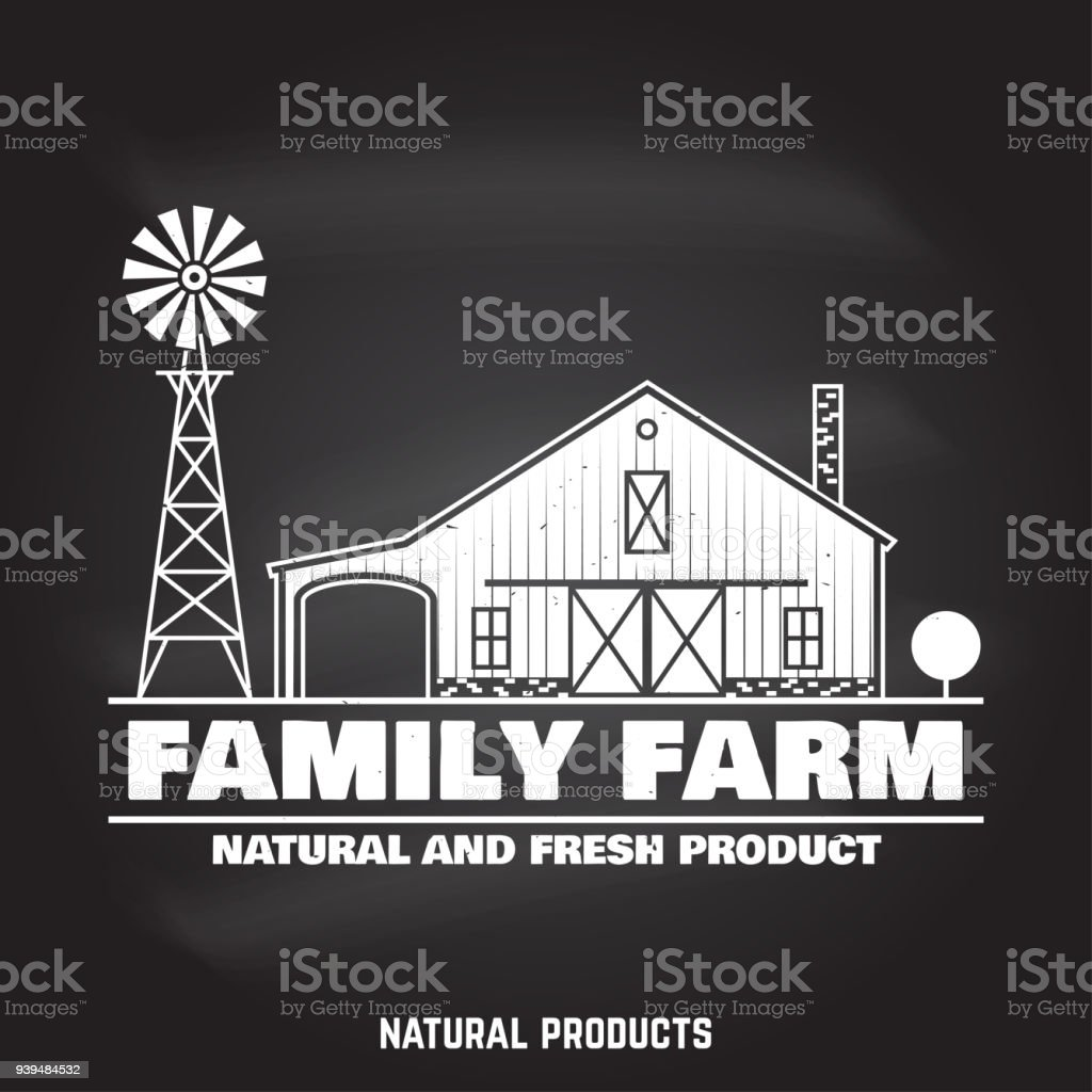 Family Farm Badges or Labels vector art illustration