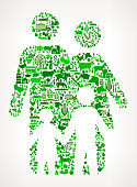 Family Icon . The green vector icons create a seamless pattern and include popular farming and agriculture. Farm house, farm animals, fruits and vegetables are among the icons used in this file. The icons are carefully arranged on a light background and vary in size and shades of green color.