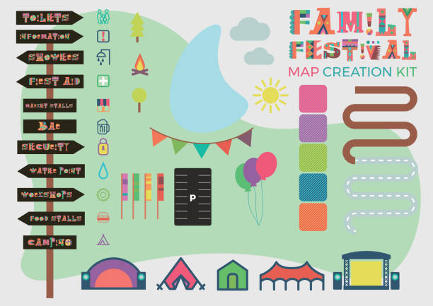 family festival map building kit including signage, roads, stages, area fills, icons, roads, parking and flags. - festiwal muzyczny stock illustrations