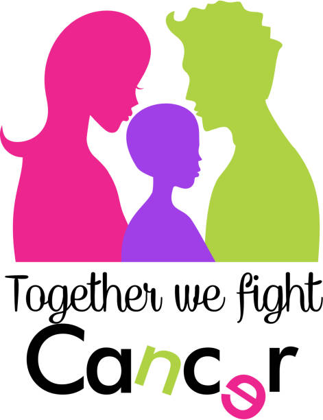 Family fighting cancer together vector art illustration