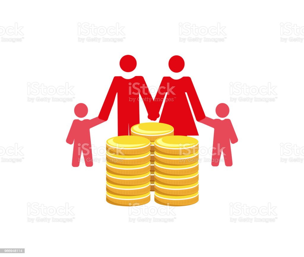 Family finances vector art illustration