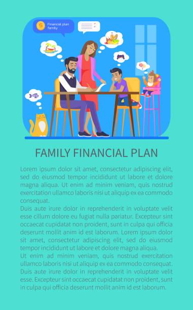 illustrazioni stock, clip art, cartoni animati e icone di tendenza di family financial plan poster vector illustration - holiday and invoice family