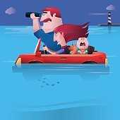 vector illustration of family in car finding direction…