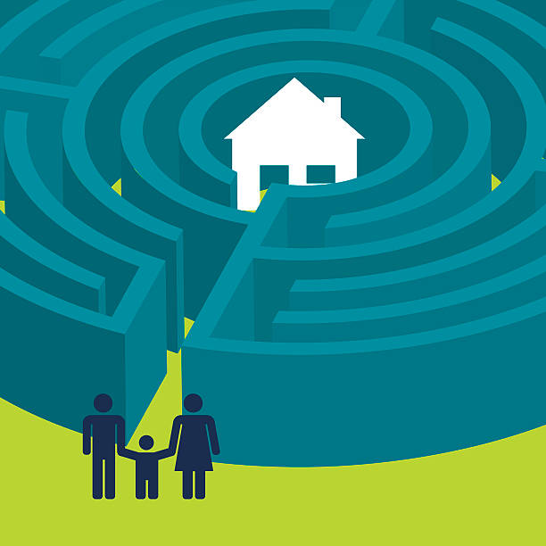 Family finding the way to a house in a maze vector art illustration
