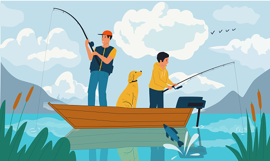 Family fishing. Father and son catching fish with rods from boat on lake. Summer hobby and outdoor leisure activity. Scenic view of water and mountains. Vector fisherman illustration
