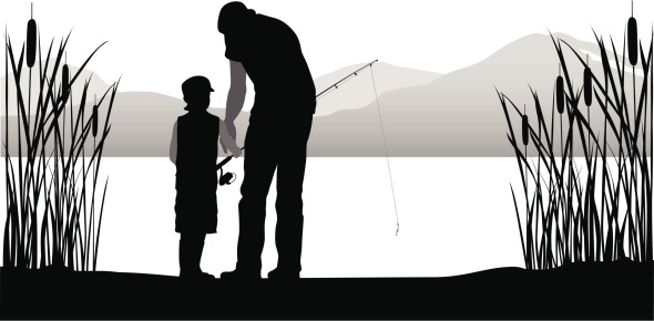Family Fishing Vector Silhouette