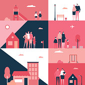 Family - flat design style conceptual illustration. Cartoon young parents in casual clothes with their kids in different situations, pregnant woman, children in a playground, houses. Social theme