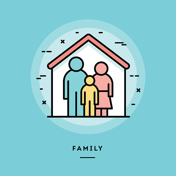 Family, flat design thin line banner Family, flat design thin line banner, usage for e-mail newsletters, web banners, headers, blog posts, print and more sheltering stock illustrations