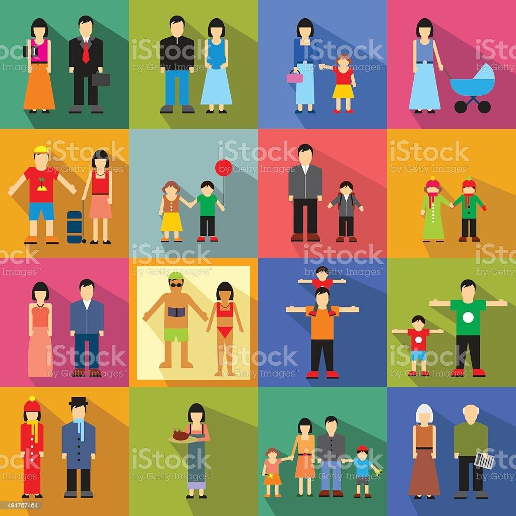 Icônes famille à - Illustration vectorielle